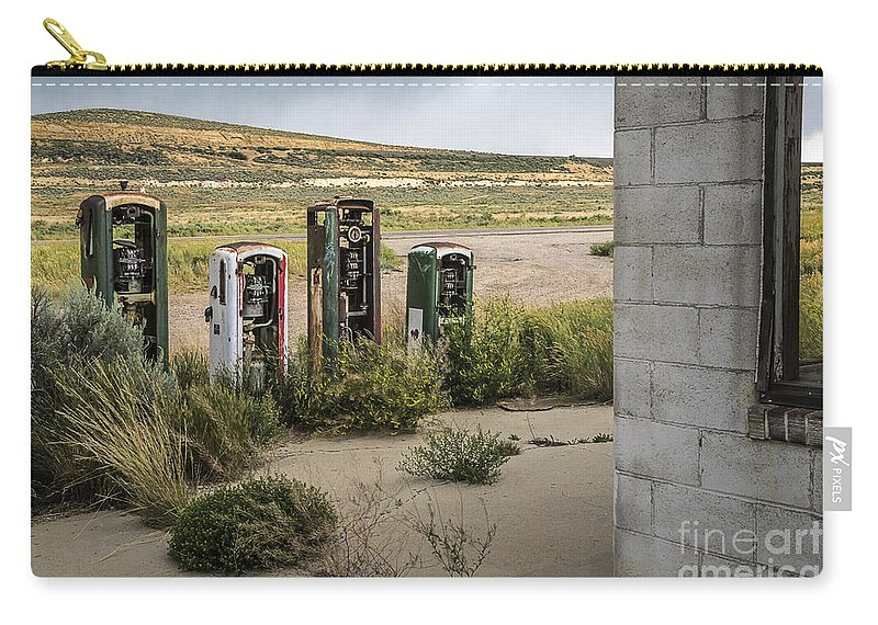 Gas Station Relics Carry-all Pouch featuring the photograph Gas Station Relics by Priscilla Burgers