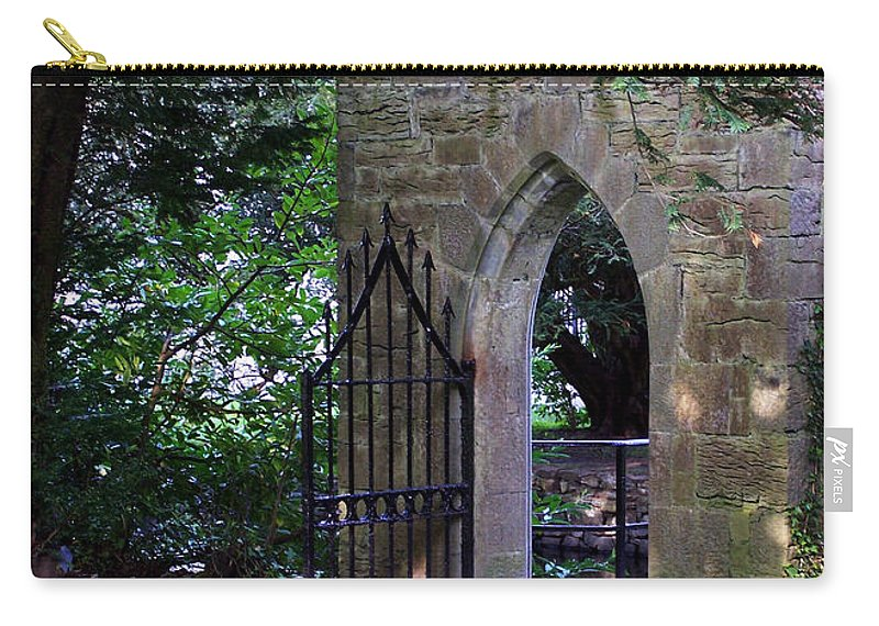 Irish Carry-all Pouch featuring the photograph Gate At Cong Abbey Cong Ireland by Teresa Mucha