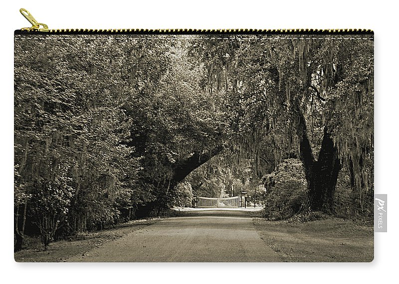 Plantation Carry-all Pouch featuring the digital art Gate To Magnolia Plantation by DigiArt Diaries by Vicky B Fuller