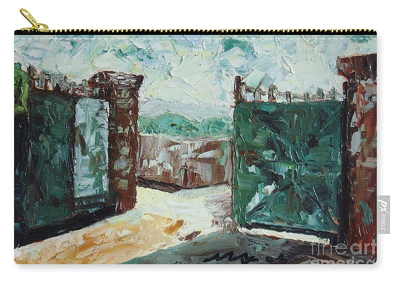 Gate Oil Canvas Carry-all Pouch featuring the painting Gate2 by Seon-Jeong Kim