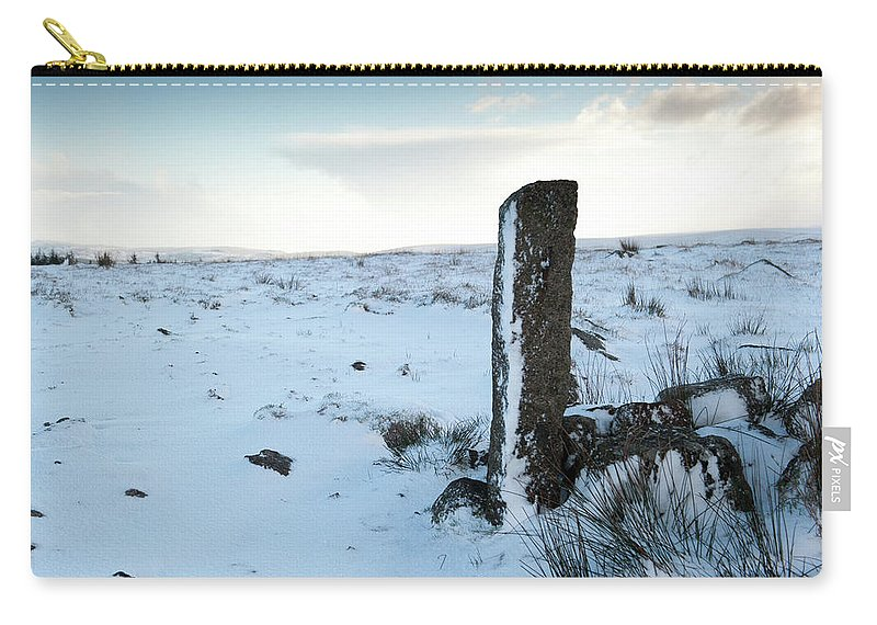 Winter Carry-all Pouch featuring the photograph Gatepost In The Snow by Helen Northcott
