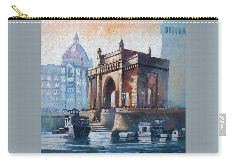 Mumbai Carry-all Pouch featuring the painting Gateway To India by Chetna Pandya
