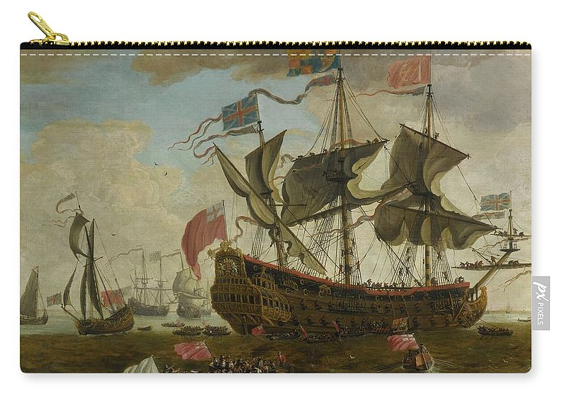 Circle Of Willem Van De Velde The Younger A Gathering Of English Ships Carry-all Pouch featuring the painting Gathering Of English Ships by MotionAge Designs