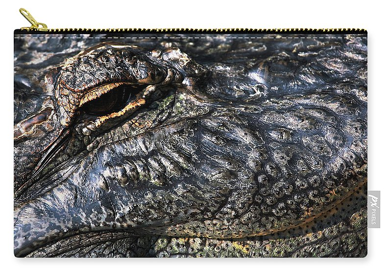 Gator Carry-all Pouch featuring the photograph Gator Eye by Karol Livote
