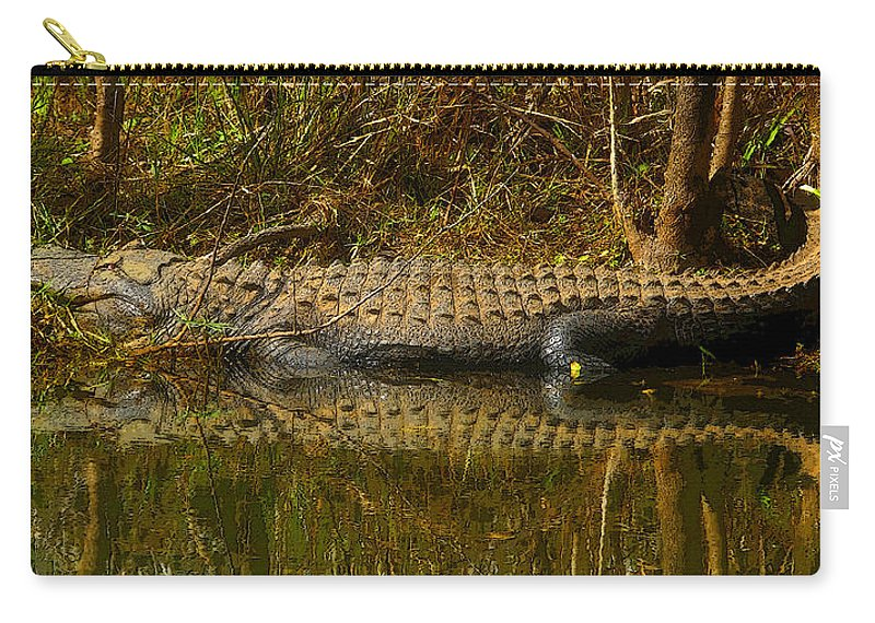 Art Carry-all Pouch featuring the painting Gator Relection by David Lee Thompson