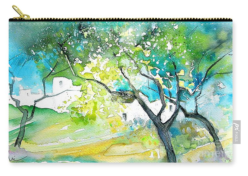 Spain Painting Water Colour Sketch Travel Gatova Carry-all Pouch featuring the painting Gatova Spain 04 by Miki De Goodaboom