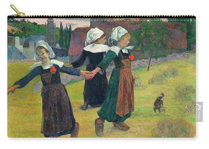 1888 Carry-all Pouch featuring the painting Gauguin, Breton Girls, 1888 by Granger