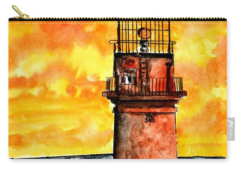 Beach Carry-all Pouch featuring the painting Gay Head Lighthouse Martha's Vineyard by Derek Mccrea