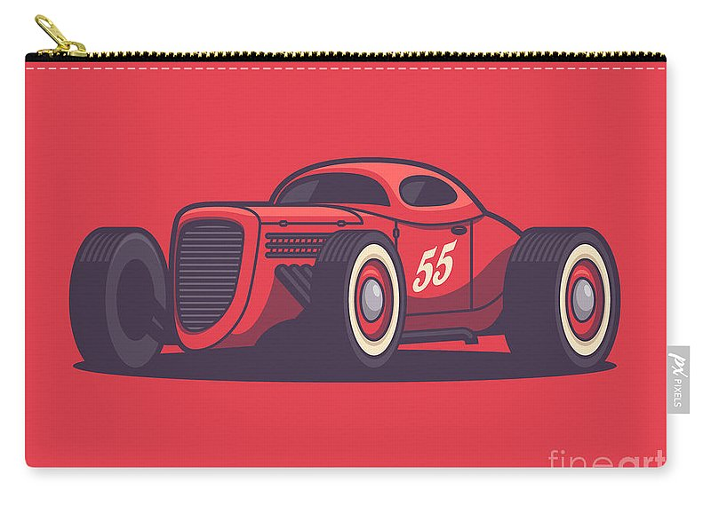 Hot Rod Carry-all Pouch featuring the digital art Gaz Gl1 Custom Vintage Hot Rod Classic Street Racer Car - Red by Ivan Krpan