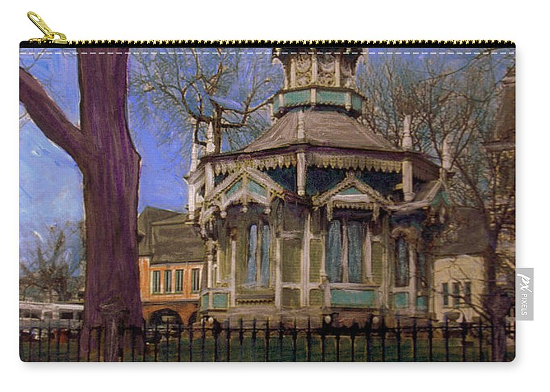Gazabo Carry-all Pouch featuring the mixed media Gazebo At Wisconsin Club by Anita Burgermeister