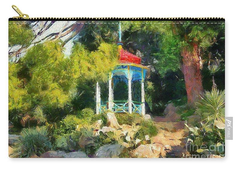 Gazebo In The Nikitsky Carry-all Pouch featuring the painting Gazebo In The Nikitsky Botanical Garden by Sergey Lukashin