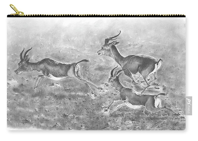 Gazelles Carry-all Pouch featuring the drawing Gazelles by Rodolfo Cordoba