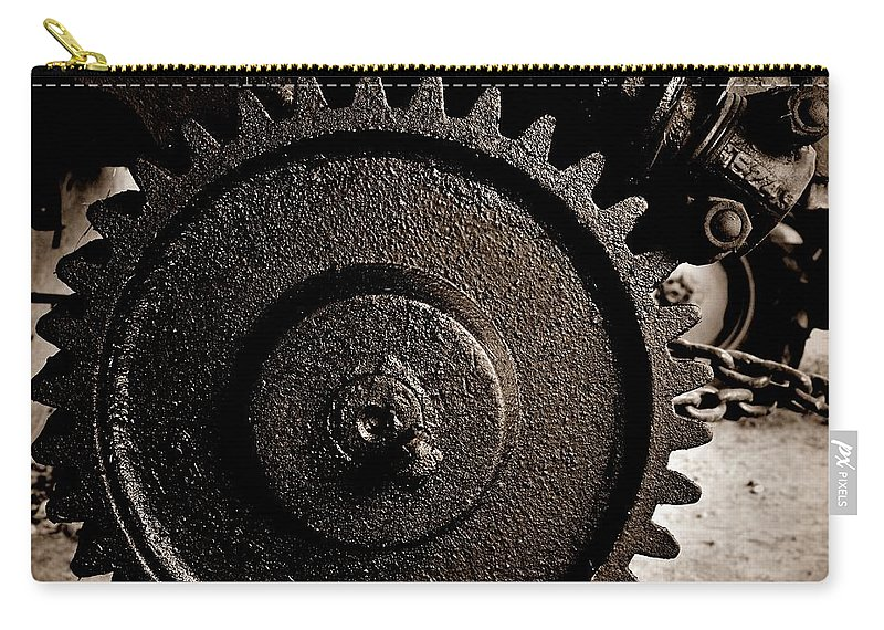 Gear And Screw Sepia 2 Carry-all Pouch featuring the photograph Gear And Screw Sepia 2 by Chalet Roome-Rigdon