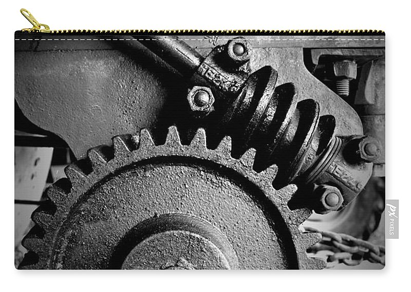 Gear In Monochrome Carry-all Pouch featuring the photograph Gear In Monochrome by Chalet Roome-Rigdon