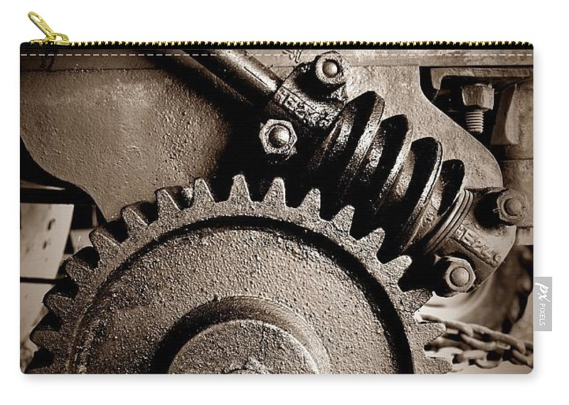 Gear In Sepia Carry-all Pouch featuring the photograph Gear In Sepia by Chalet Roome-Rigdon