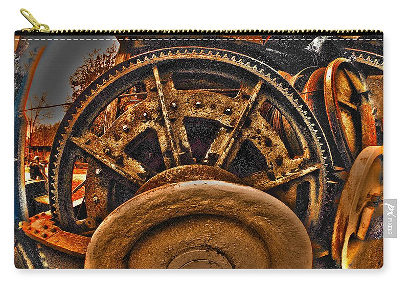 Clay Carry-all Pouch featuring the photograph Gears Gone Mad by Clayton Bruster