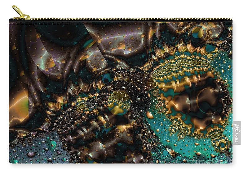 Fractal Art Carry-all Pouch featuring the digital art Gears Of The Universe Two by Ron Bissett