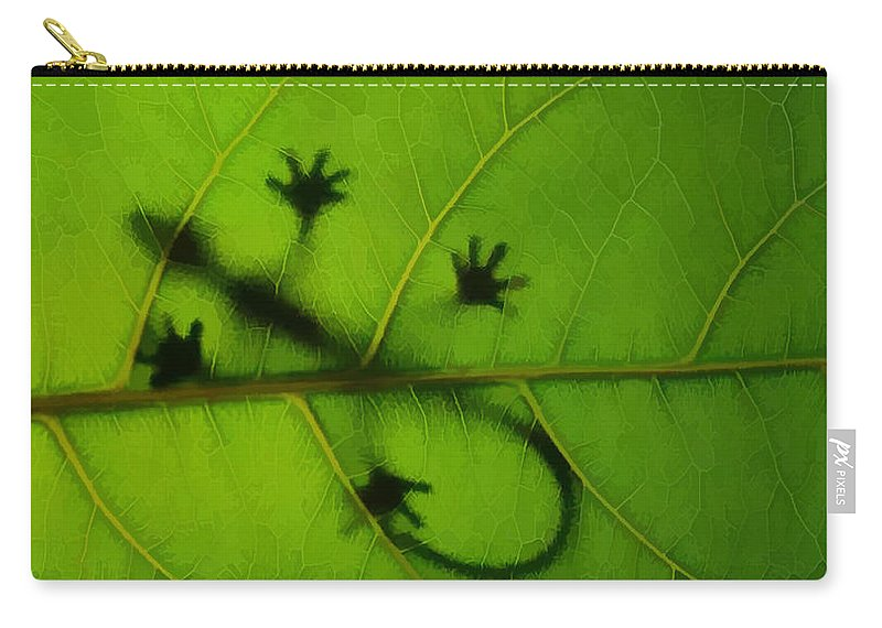 Gecko On A Leaf Carry-all Pouch featuring the painting Gecko On A Leaf by Jeelan Clark