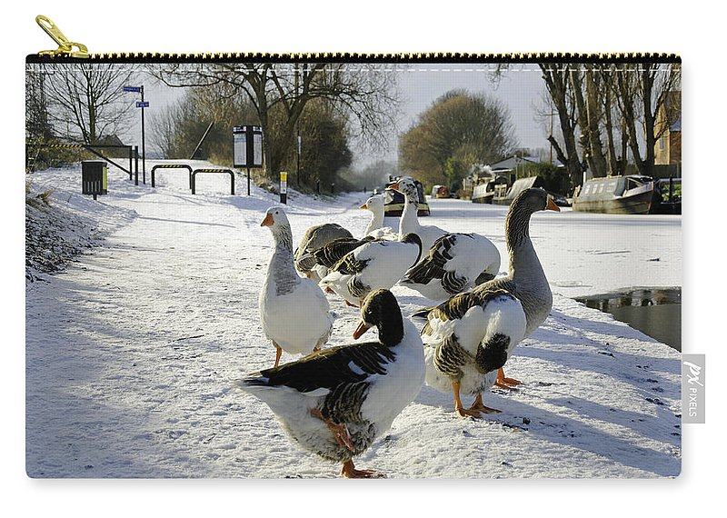 Burton On Trent Carry-all Pouch featuring the photograph Geese At The Frozen Horninglow Basin by Rod Johnson
