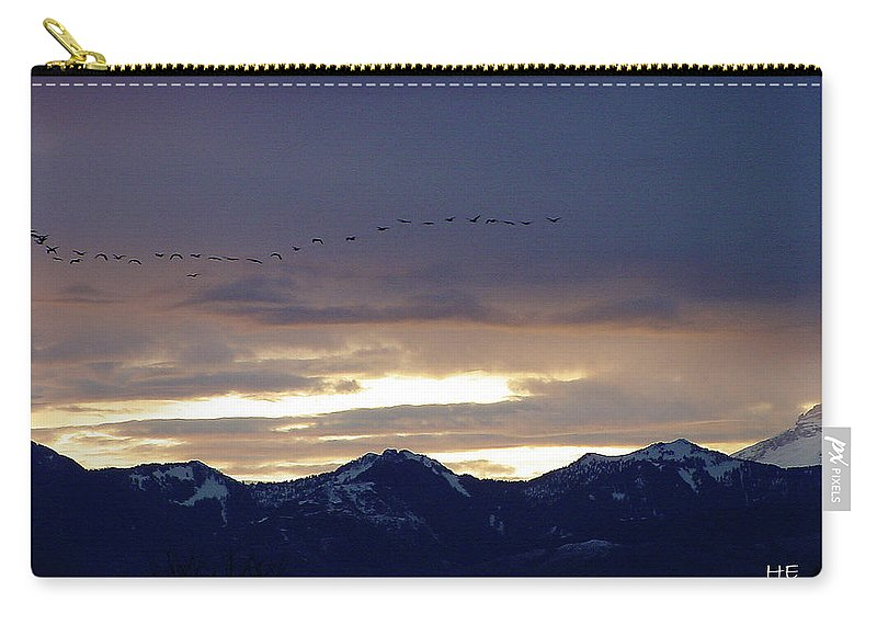 Cascade Carry-all Pouch featuring the photograph Geese Over The Cascades by Shirley Heyn