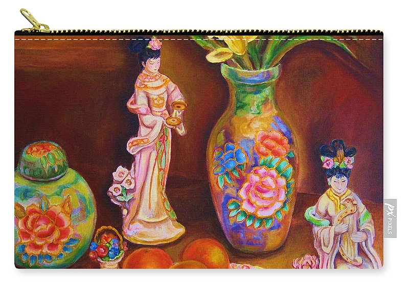 Geishas Carry-all Pouch featuring the painting Geisha Dolls by Carole Spandau