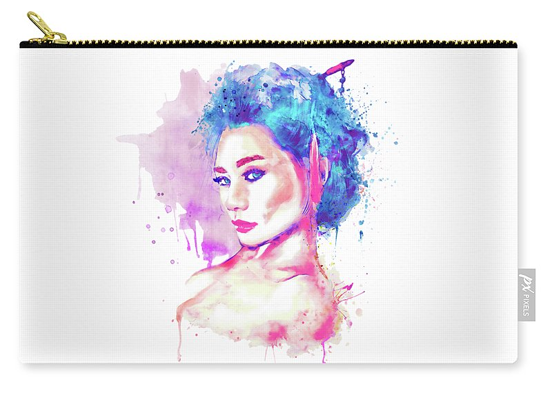 Geisha Carry-all Pouch featuring the painting Geisha Girl by Marian Voicu