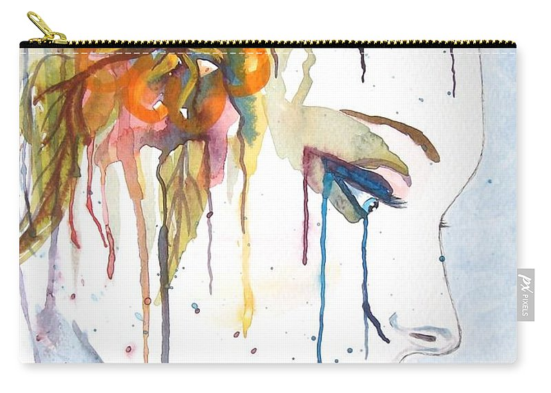 Geisha Face Carry-all Pouch featuring the painting Geisha Soul Watercolor Painting by Georgeta Blanaru