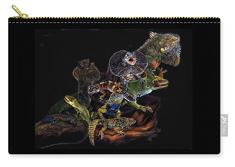 Lizards Carry-all Pouch featuring the drawing Gems And Jewels by Barbara Keith