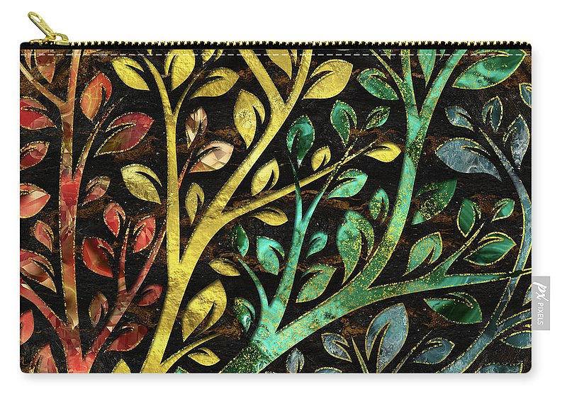 Marble Carry-all Pouch featuring the digital art Gemstone Tree With Golden Decor by Creativemotions