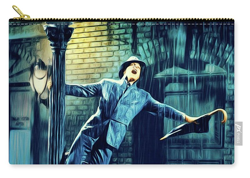 Gene Carry-all Pouch featuring the digital art Gene Kelly, Singing In The Rain by Mary Bassett