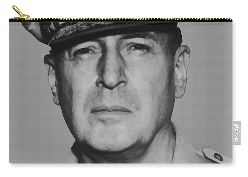 Douglas Macarthur Carry-all Pouch featuring the painting General Douglas Macarthur by War Is Hell Store