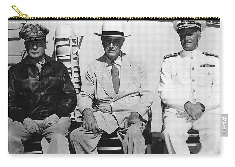 World War 2 Carry-all Pouch featuring the photograph General Macarthur - President Roosevelt - Admiral Nimitz - 1944 by War Is Hell Store