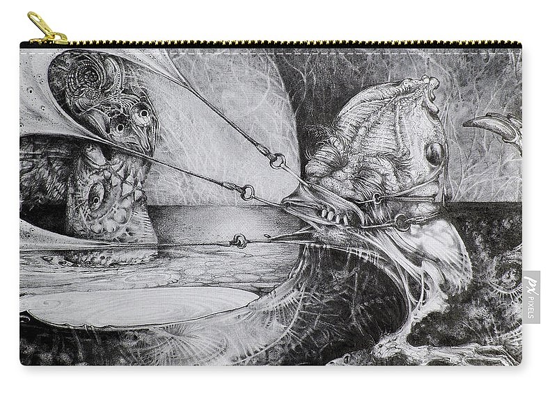 Surrealism Carry-all Pouch featuring the drawing General Peckerwood In Purgatory by Otto Rapp