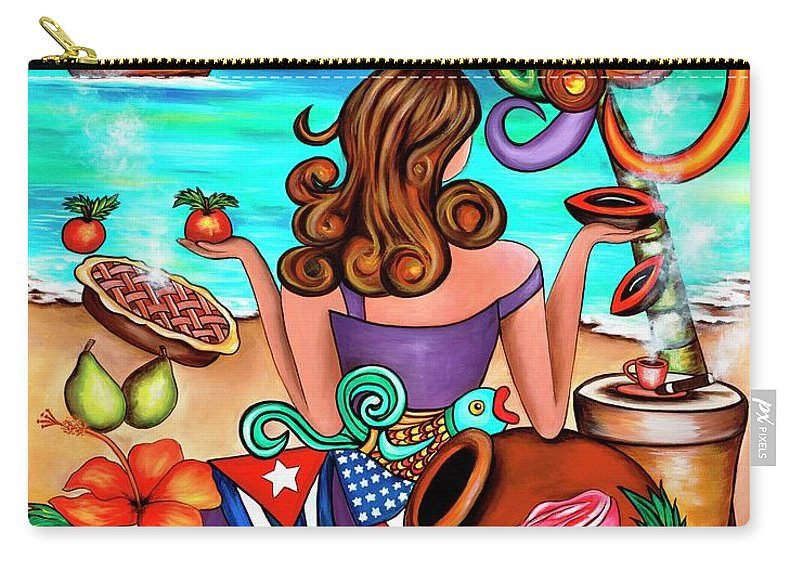 Cuba Carry-all Pouch featuring the painting Generation Spanglish by Annie Maxwell