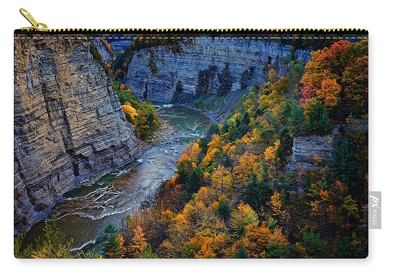 Autumn Carry-all Pouch featuring the photograph Genesee River Gorge II by Rick Berk
