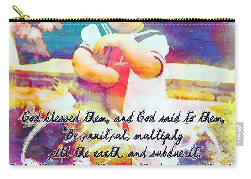 Jesus Carry-all Pouch featuring the digital art Genesis 1 28 by Michelle Greene Wheeler