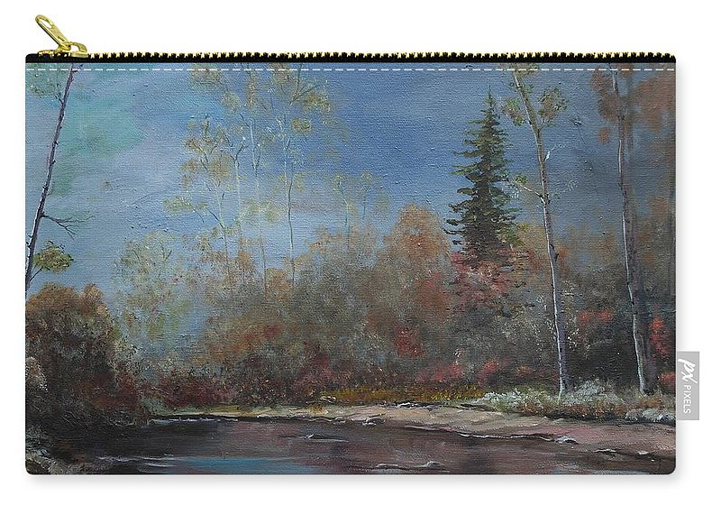 River Carry-all Pouch featuring the painting Gentle Stream - Lmj by Ruth Kamenev