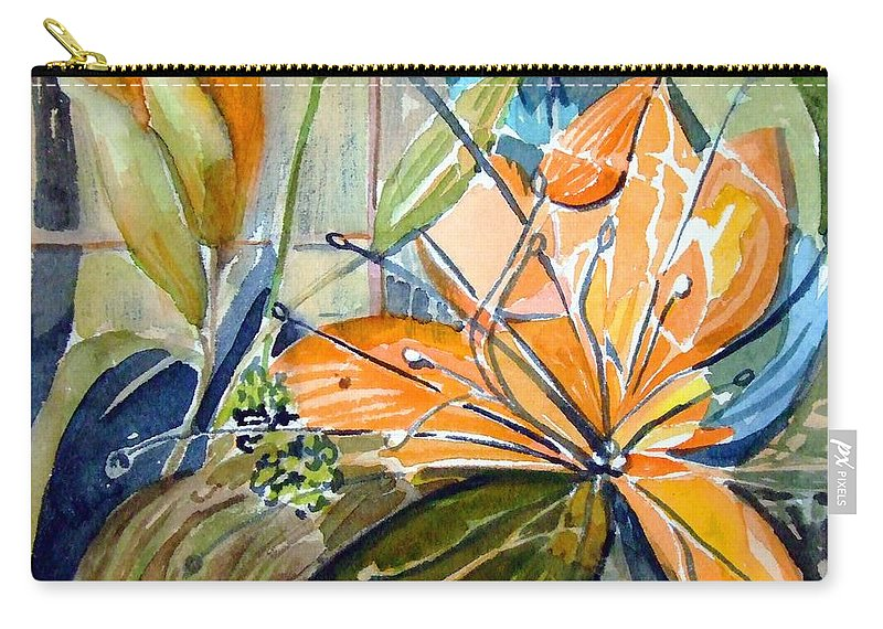 Lilies Carry-all Pouch featuring the painting Geo Day Lilies by Mindy Newman