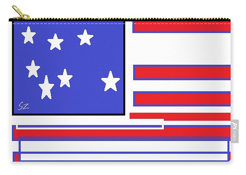 America Carry-all Pouch featuring the digital art Geo Flag by Samuel Zylstra