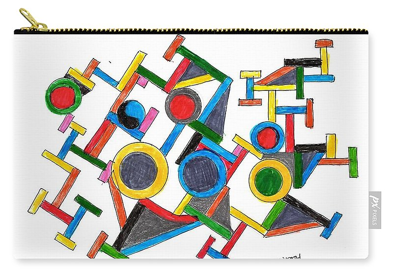 Abstract Images Carry-all Pouch featuring the drawing Geometric Fun by Paul Meinerth