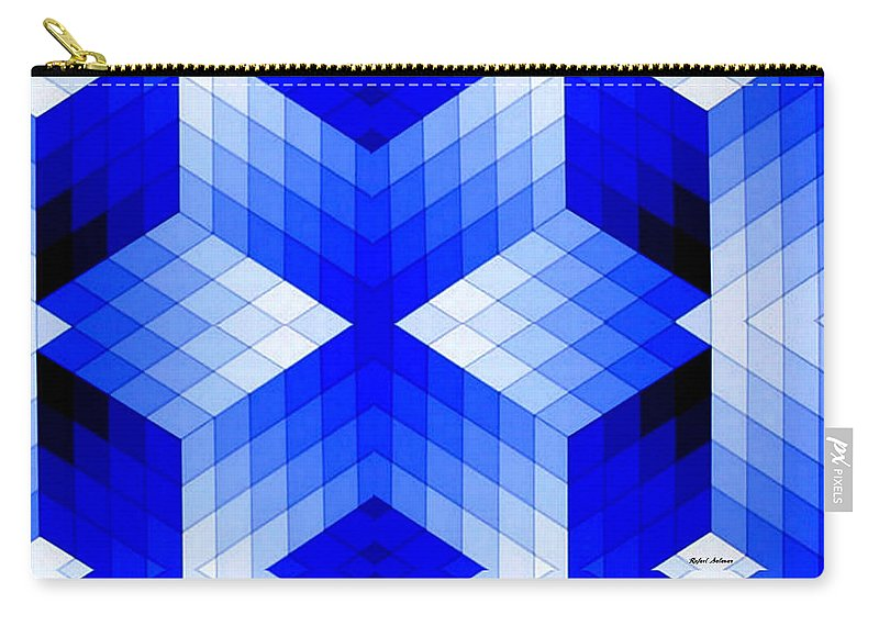 Lineal Carry-all Pouch featuring the digital art Geometric In Blue by Rafael Salazar