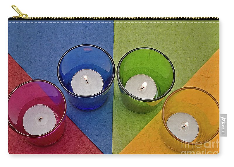 Oferzil Carry-all Pouch featuring the photograph Geometrical Shapes, Colours And Candles by Ofer Zilberstein