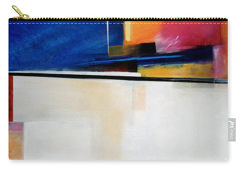 Abstract Carry-all Pouch featuring the painting Geometrics 4 Lights Out by Marlene Burns
