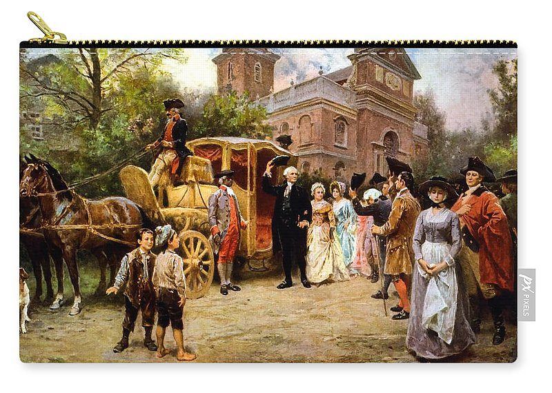 George Washington Carry-all Pouch featuring the painting George Washington Arriving At Christ Church by War Is Hell Store