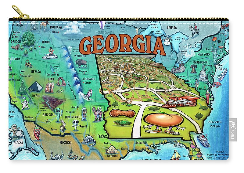 Georgia Carry-all Pouch featuring the painting Georgia Usa Cartoon Map by Kevin Middleton
