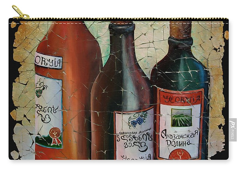 Georgian Wine Carry-all Pouch featuring the painting Georgian Wine Fresco by OLena Art Lena Owens