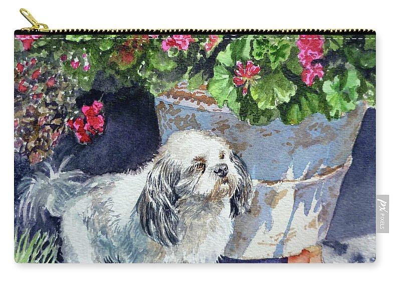 Animal Portrait Carry-all Pouch featuring the painting Georgie by Irina Sztukowski