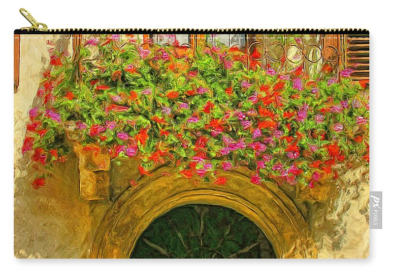 Italy Carry-all Pouch featuring the painting Gerani Coloriti by Dominic Piperata
