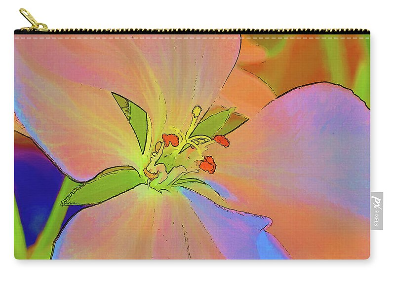 Flower Carry-all Pouch featuring the digital art Geranium In Color by Charles Muhle