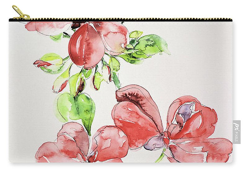 Watercolour Carry-all Pouch featuring the painting Geraniums by Sharon Cox